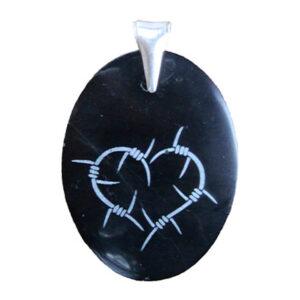 """Black jade engraved pendant """"thorned heart"""""""