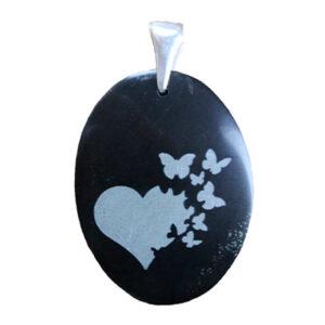 "Black jade engraved pendant ""heart with butterflies"""