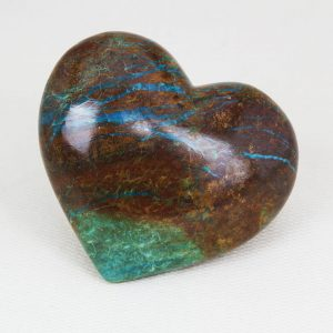 """Beautiful chrysocolla heart """"Mother Earth"""" with perfect shape and superior polish"""