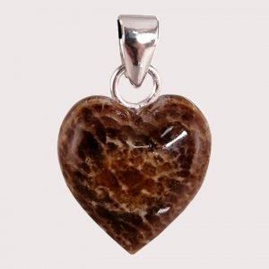 Aragonite heart shaped pendant with sterling silver ring JD-001-ARG-001