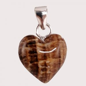 Aragonite heart shaped pendant with sterling silver ring JD-001-ARG-002