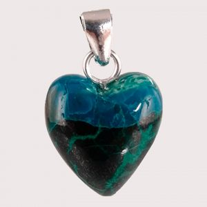 chrysocolla heart shaped pendant with sterling silver ring JD-001-CRI-002