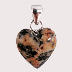 rodonite with epidote heart shaped pendant with sterling silver ring JD-001-ROE-001