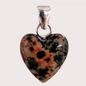 rodonite with epidote heart shaped pendant with sterling silver ring JD-001-ROE-002