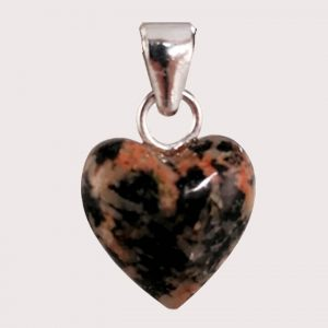 rodonite with epidote heart shaped pendant with sterling silver ring JD-001-ROE-003