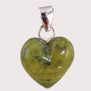 serpentinite heart shaped pendant with sterling silver ring JD-001-SER-001
