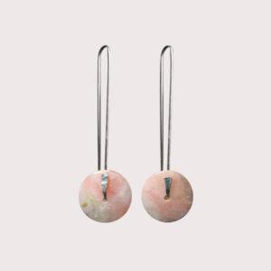 orbit earrings with fine silver pin pink opal JA-001-OPR-003