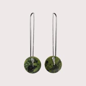 orbit earrings with fine silver pin SERPENTINITE JA-001-SER-001
