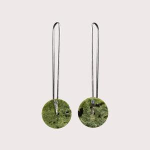 orbit earrings with fine silver pin SERPENTINITE JA-001-SER-002