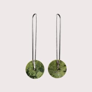 orbit earrings with fine silver pin SERPENTINITE JA-001-SER-003