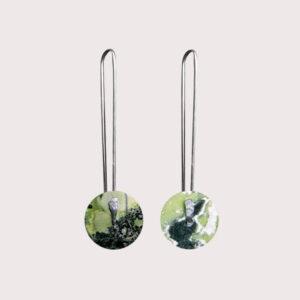 orbit earrings with fine silver pin SERPENTINITE JA-001-SER-004