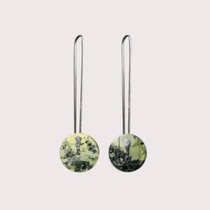 orbit earrings with fine silver pin SERPENTINITE JA-001-SER-005