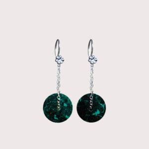 orbit earrings with sterling silver chain chrysocolla JA-002-CRI-001
