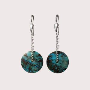 orbit earrings with sterling silver chain chrysocolla PERUVIAN SUNSET JA-002-CRA-001