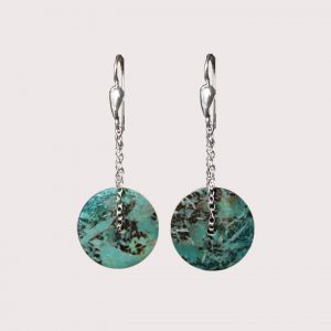 orbit earrings with sterling silver chain chrysocolla TURQUOISE JA-002-CRT-001