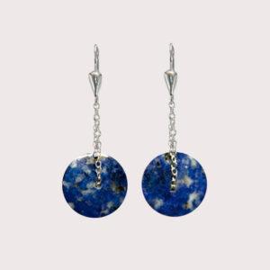 orbit earrings with sterling silver chain lapislazuli JA-002-LAP-001