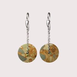 orbit earrings with sterling silver chain leopardite JA-002-LEO-001