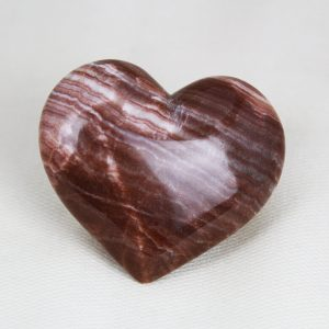 Beautiful hand-made red aragonite heart with perfect shape and superior polish