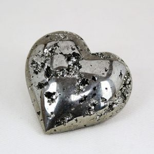 Beautiful hand-made pyrite heart with crystal drusis from Huanzala mine