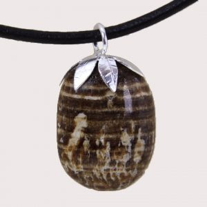 tumbled pendant with sterling silver ring aragonite DTam-ARG-001b