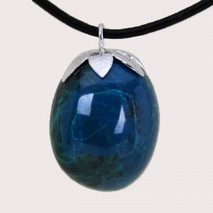 tumbled pendant with sterling silver ring chrysocolla DTam-CRI-003a