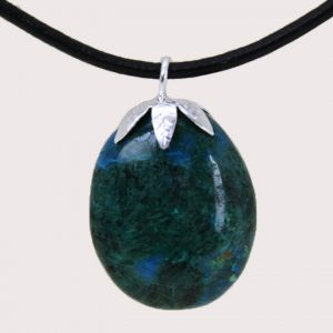 tumbled pendant with sterling silver ring chrysocolla DTam-CRI-004a