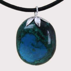 tumbled pendant with sterling silver ring chrysocolla DTam-CRI-005a