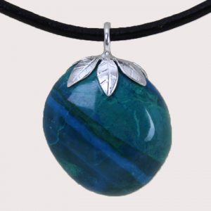 tumbled pendant with sterling silver ring chrysocolla DTam-CRI-007a