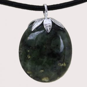 tumbled pendant with sterling silver ring nephrite green jade DTam-JVE-001a
