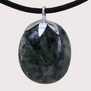 tumbled pendant with sterling silver ring nephrite green jade DTam-JVE-003a