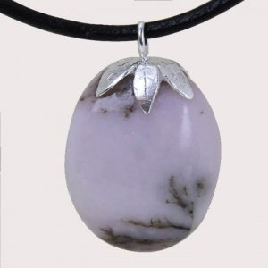 tumbled pendant with sterling silver ring pink opal DTam-OPR-002b