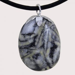 tumbled pendant with sterling silver ring pinolite DTam-PIN-003a