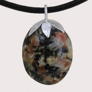 tumbled pendant with sterling silver ring rodonite with epidoteDTam-ROE-001a