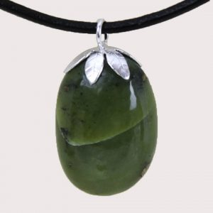 tumbled pendant with sterling silver ring serpentinite DTam-SER-003b