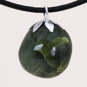tumbled pendant with sterling silver ring serpentinite DTam-SER-004c