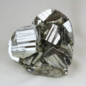 Unique pyrite heart with huge cubic crystals hand-made from Huanzala mine