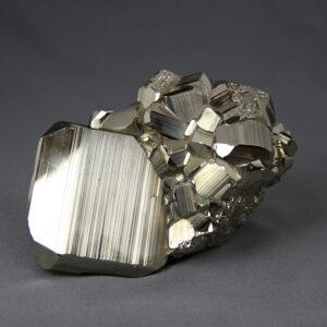 Unique large-cabinet-size pyrite cluster from Huanzala mine in Peru